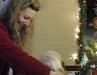 Liz choosing the first White Santa present